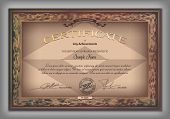 picture of macrame  - Vintage certificate template with detailed border and calligraphic elements on brown paper with safety watermarks in vector - JPG