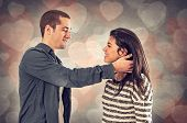 image of sweethearts  - Couple of happy sweethearts in affectionate relationship - JPG