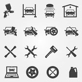 image of car symbol  - Auto service and repair icon set  - JPG