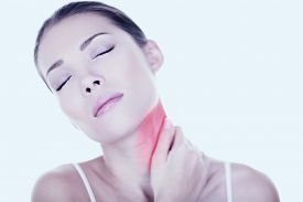 stock photo of red back  - Neck pain woman need back massage - JPG