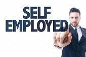 foto of self-employment  - Business man pointing the text - JPG