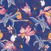 stock photo of toucan  - Beautiful Vintage Tropical Seamless Background with Exotic Flowers and Toucan - JPG