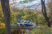 foto of kiev  - Railway funicular is an autumn Kiev Ukraine - JPG