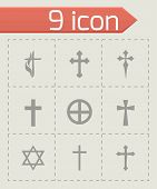 stock photo of chopper  - Vector choppers crosses icons set on grey background - JPG