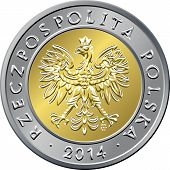 image of zloty  - vector obverse Polish Money five zloty gold and silver coin with eagle in a golden crown - JPG