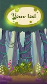 stock photo of fairies  - Cartoon magic forest illustration fairy wood landscape - JPG
