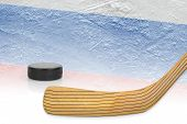 image of hockey arena  - Stick puck and hockey field with the Russian flag - JPG
