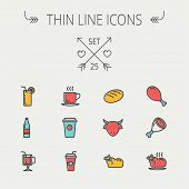 pic of fried chicken  - Food and drink thin line icon set for web and mobile - JPG