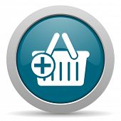 pic of cart  - cart blue glossy web icon - JPG