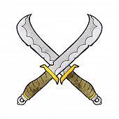 pic of crossed swords  - cartoon crossed swords - JPG