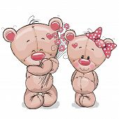 picture of teddy  - Greeeting card Teddy boy gives flowers to a Teddy girl - JPG