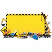 stock photo of construction machine  - Yellow Construction Board with construction machines - JPG