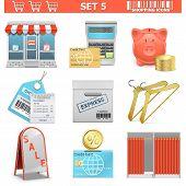 stock photo of barcode  - Shopping Icons Set 5 - JPG