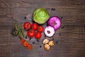 foto of apricot  - Fresh Food ingredients vegetables on the tabel - JPG