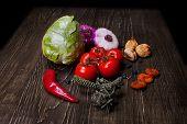 image of apricot  - Fresh Food ingredients vegetables on the tabel - JPG