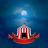 image of moonlight  - vector flying circus on moonlight with blank banner - JPG