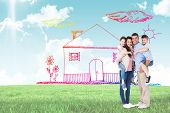 image of piggyback ride  - Parents giving piggyback ride to children over white background against blue sky over green field - JPG