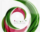 picture of slogan  - Vector green swirl line abstract background - JPG