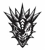 picture of dragon head  - Graphic vector illustration of the dragons head - JPG