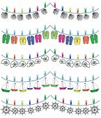 stock photo of rudder  - Nautical holiday bunting with seashells - JPG