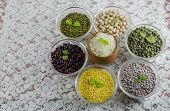 foto of staples  - Lentils and rice are the main staple food of India - JPG