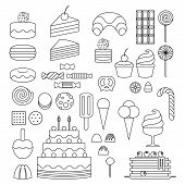 picture of ice-cake  - Set of sweet food icons outline style - JPG