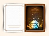 foto of ramazan mubarak card  - Creative greeting card design decorated with beautiful Islamic Mosque for holy month of Muslim community Ramadan Kareem celebration - JPG