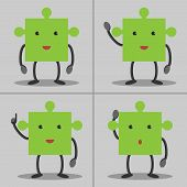 picture of waving hands  - Set of puzzle piece characters - JPG