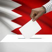 stock photo of bahrain  - Ballot box with flag on background  - JPG