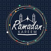 picture of prayer  - Stylish text Ramadan Kareem and mosque in a rounded frame for Islamic holy month of prayer celebration on seamless background - JPG