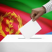 pic of eritrea  - Ballot box with flag on background  - JPG