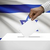 picture of israel people  - Ballot box with flag on background  - JPG