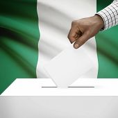 stock photo of nigeria  - Ballot box with flag on background  - JPG