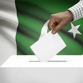 foto of pakistani flag  - Ballot box with flag on background  - JPG
