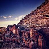 pic of petra jordan  - Tombs in Petra in Jordan at sunset time - JPG