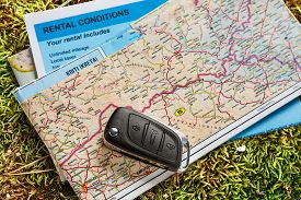 image of rental agreement  - Car remote key on map and rental agreement - JPG
