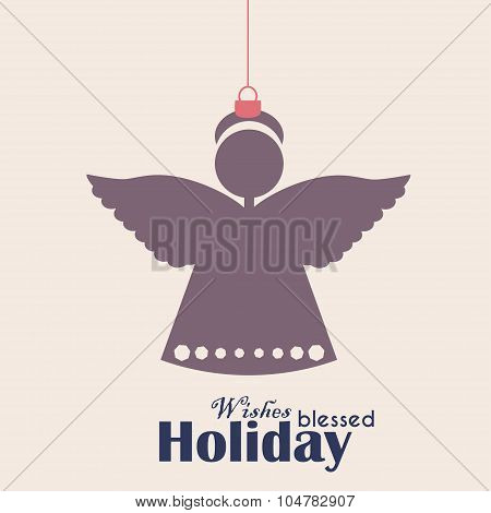 merry christmas vintage retro typography lettering design greeting card on simple background vector poster