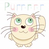 Cartoon smiling gentle beige kitty, vector illustration of caressing lonely kitten poster