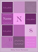 picture of mother daughter  - Baby Arrival Card With Violet Photo Frames - JPG