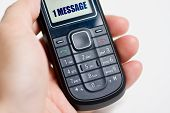 pic of mobile-phone  - Modern mobile or cell phone for global communication services with 1 message - JPG