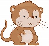 picture of gerbil  - Illustration of a Cute Gerbil Smiling Contentedly - JPG