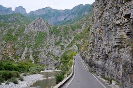 picture of albania  - Landscape with the image of mountains in Albania - JPG