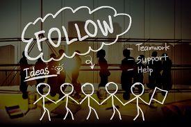 stock photo of follow-up  - Follow Following Teamwork Member Leader Concept - JPG