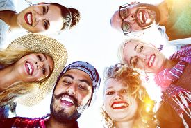 stock photo of huddle  - Friendship Huddle Happiness Beach Summer Concept - JPG