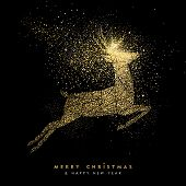 Christmas And New Year Holiday Gold Glitter Deer poster