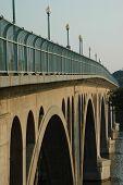 stock photo of rosslyn  - Dawn at Francis Scott Key Bridge leading into Georgetown in Washington DC - JPG