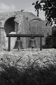 Bells At Mission San Juan Capistrano In Black And White poster