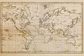 Photo of a genuine hand drawn world map, it was drawn in 1844 and therefore the countries are named
