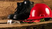 Safety Glass, Boots, Glove And Hard Hat Or Helmet poster