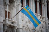 Flag Of Szekely Land Of Hungarian Parliament poster